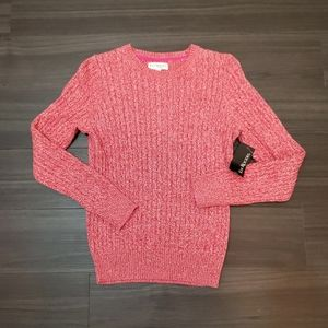 Kim Rogers Rust Combination Cable Knit Sweater